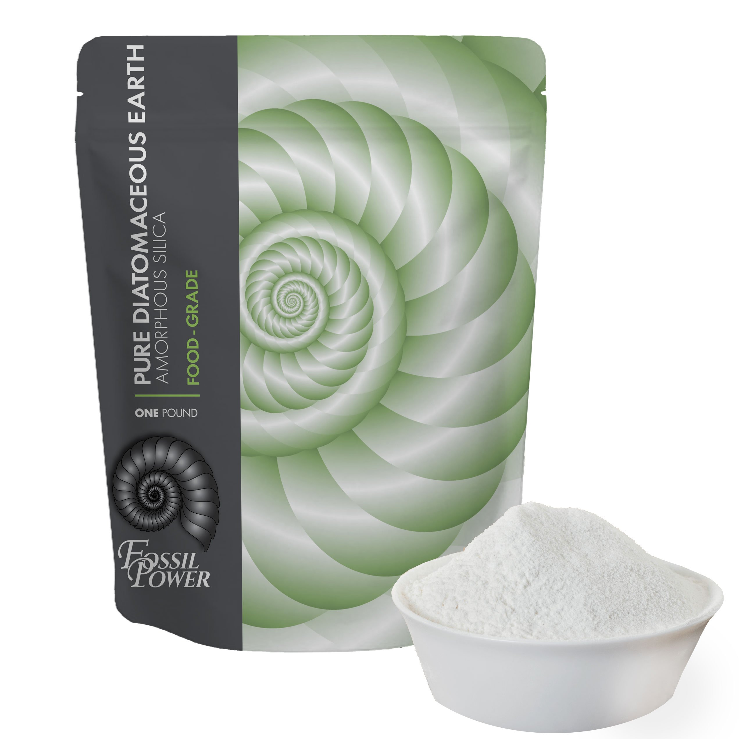 Fossil Power Diatomaceous Earth Food Grade Powder - 1 lb. Bulk Resealable Bag - Safe for Human and Pet Consumption or Outdoor Uses with Dust Applicator - Detoxify Your Body Inside and Out Brand