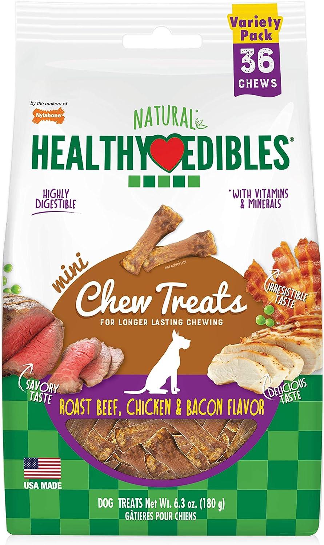 Nylabone Healthy Edibles All-Natural Long Lasting Chew Treats Variety Pack