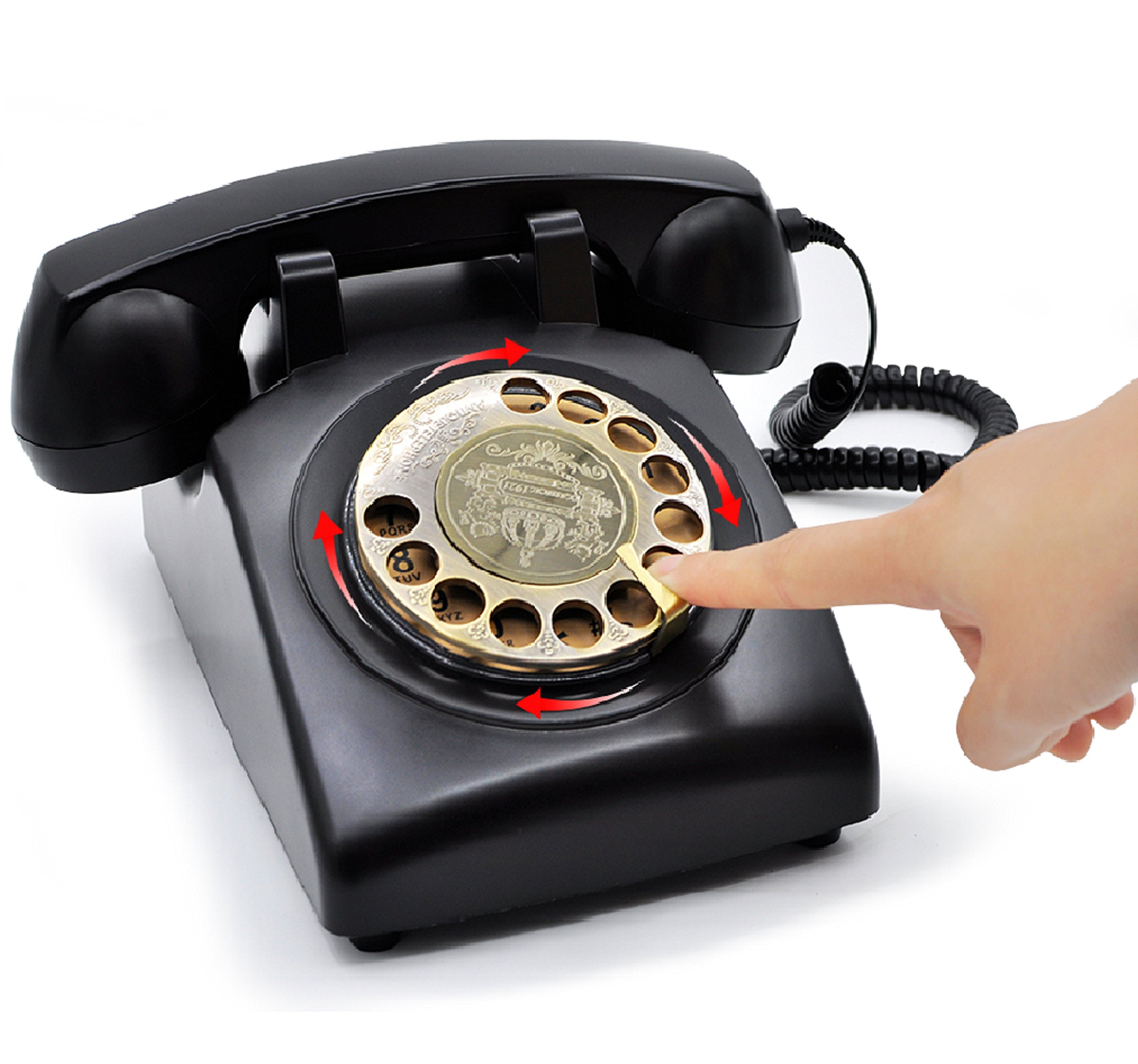 1960's Style Retro Vintage Antique Style Rotary Dial Desk Telephone,Old Fashioned Classic Corded Telephone Landline for Home and Office Decor (Vintage Black/No hands-free function)