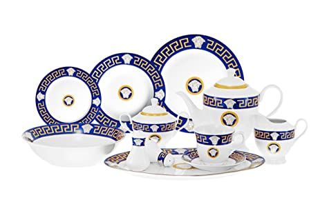 Inspired By Versache Greek Key 49 Piece Porcelain Dinnerware Service For 8 - Blue  sc 1 st  Amazon.com & Amazon.com | Inspired By Versache Greek Key 49 Piece Porcelain ...