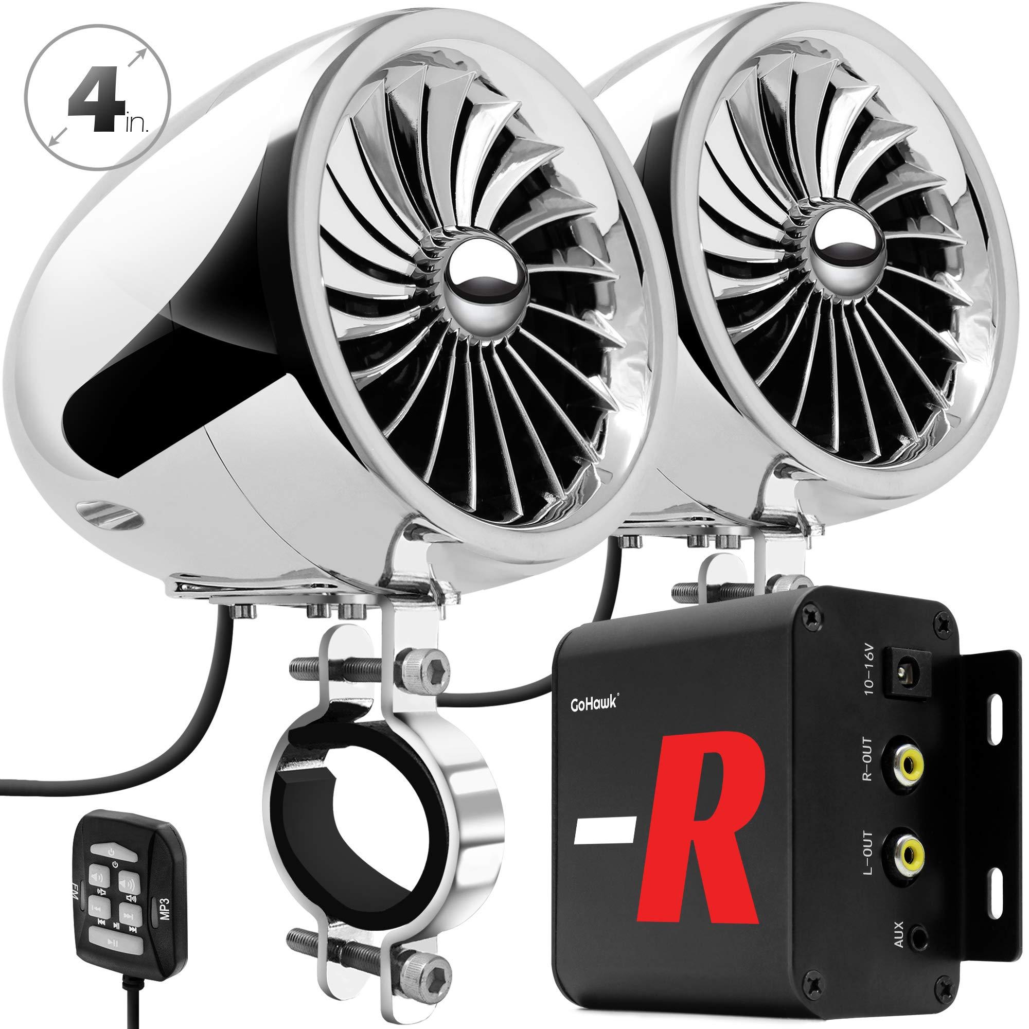 GoHawk TJ4-R Amplifier 4'' Full Range Waterproof Bluetooth Motorcycle Stereo Speakers 1 to 1.5 in. Handlebar Mount Audio Amp System Harley Touring Cruiser ATV UTV RZR, AUX, FM Radio