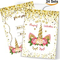 Amazon best sellers best kids party invitations birthday cards front 24 unicorn invitations large set giltter unicorn face with 24 envelopes double sided filmwisefo