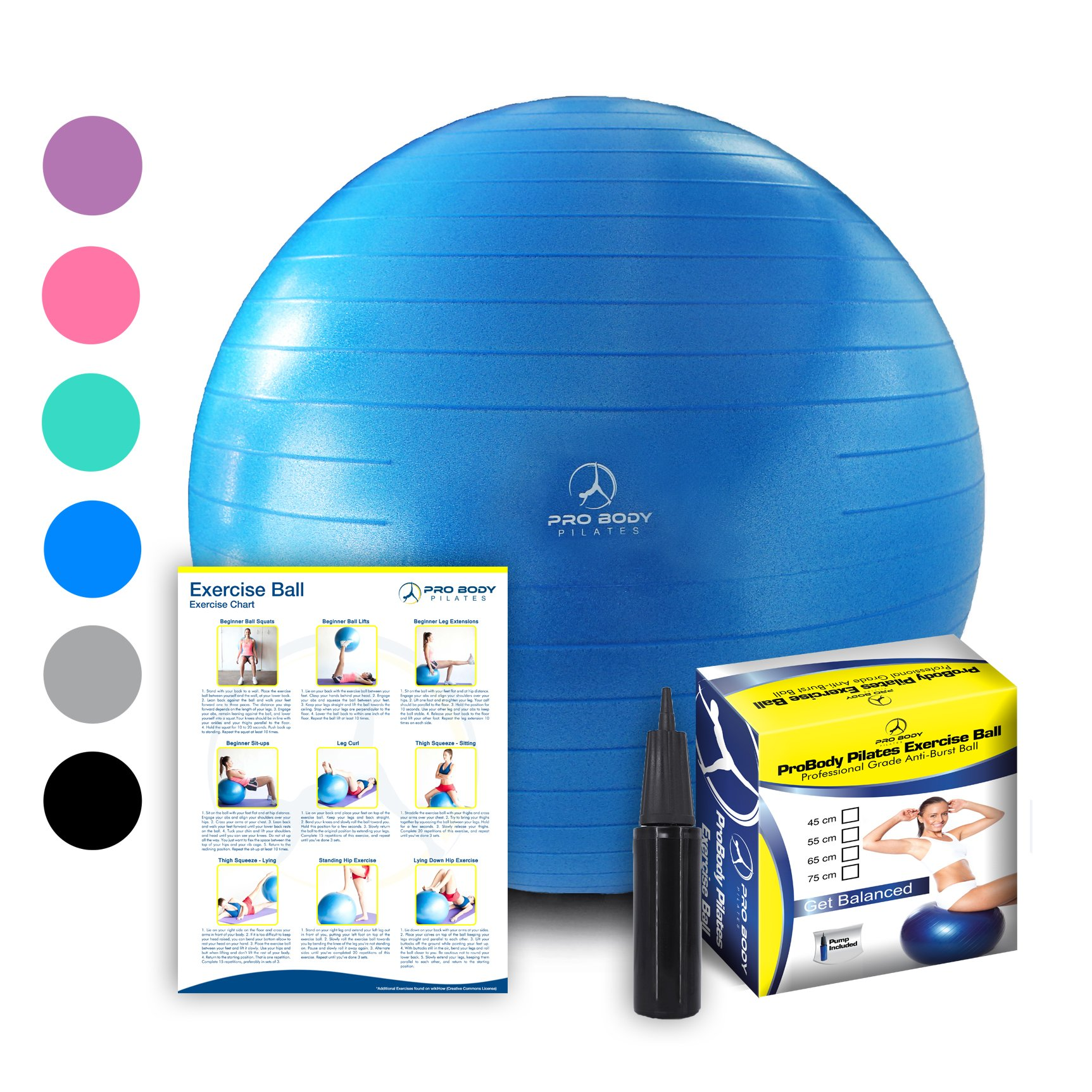 Exercise Ball - Professional Grade Anti-Burst Fitness, Balance Ball for Pilates, Yoga, Birthing, Stability Gym Training and Physical Therapy (Blue, 55cm)