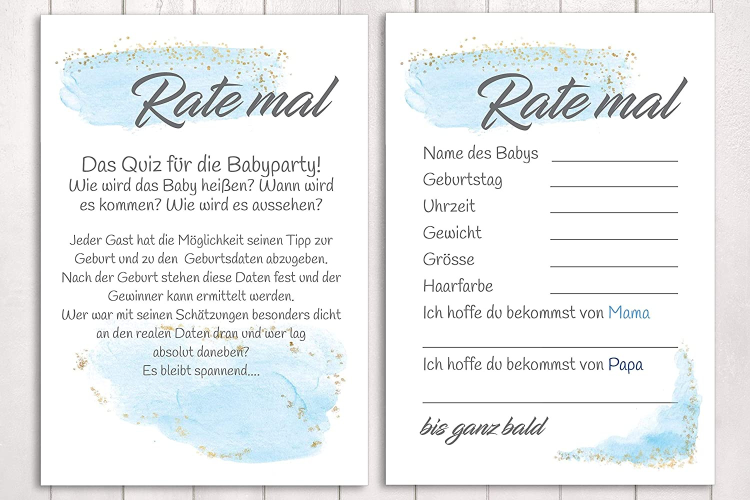 10 Karten'Rate mal.' Babyparty Spiel in Watercolor Blau - BabyShower Game