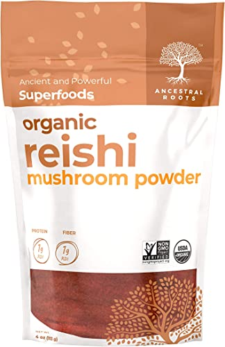 Ancestral Roots Organic Reishi Mushroom Powder - 100 Pure, USDA Certified Organic Reishi Mushroom Powder 4oz