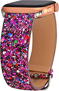Greaciary Glitter Bling Band Compatible for iWatch 38mm 40mm 42mm 44mm Leather Luxury Shiny Sparkle Women Strap Wristbands Replacement for iWatch Series 5/4/3/2/1PP42