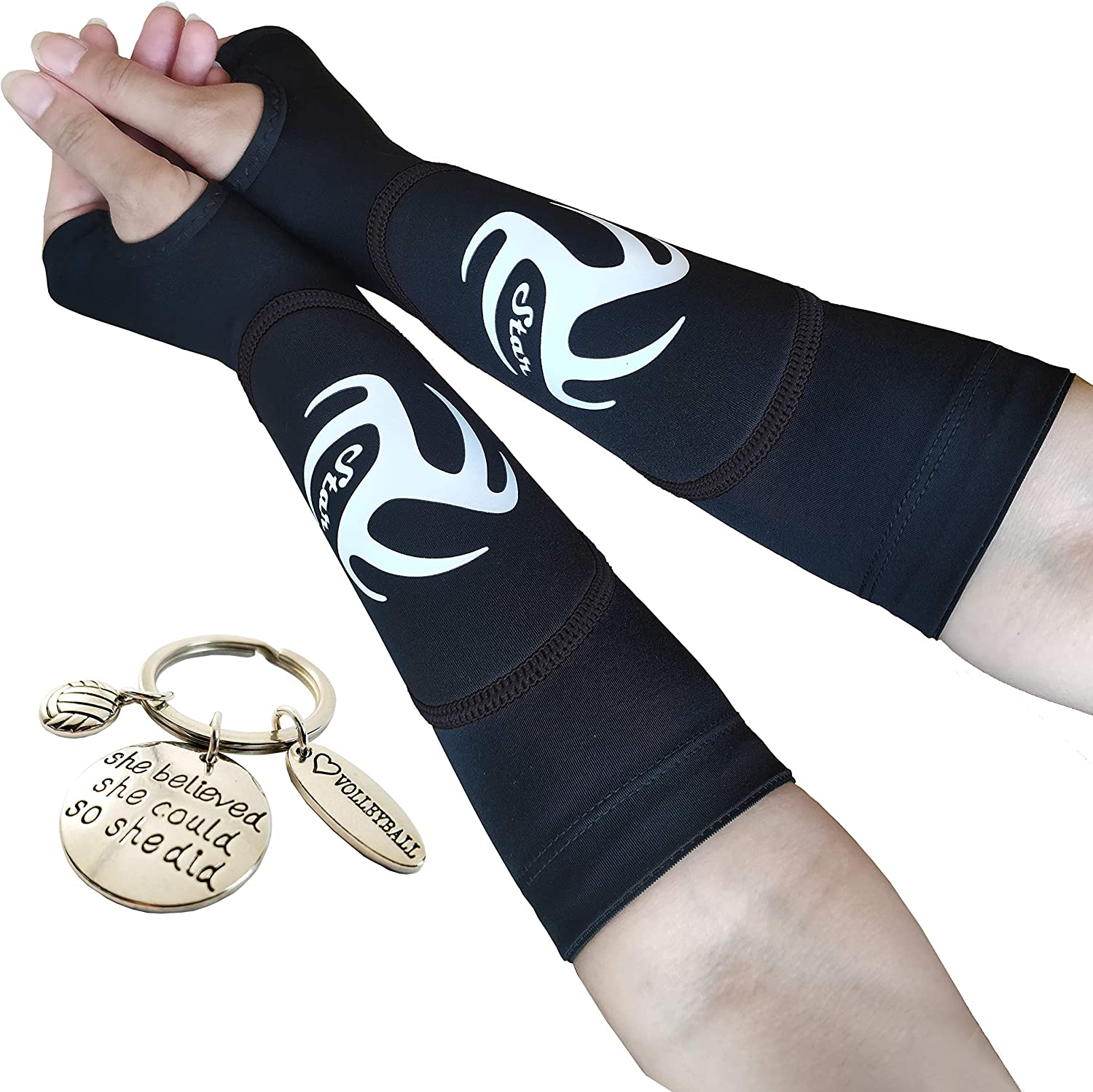 Volleyball Padded Sleeves for Younger Girls and Boys - Passing Forearm Sleeves with Protection Pad (Black Padded Sleeves with Thumbhole, 10) : Sports & Outdoors