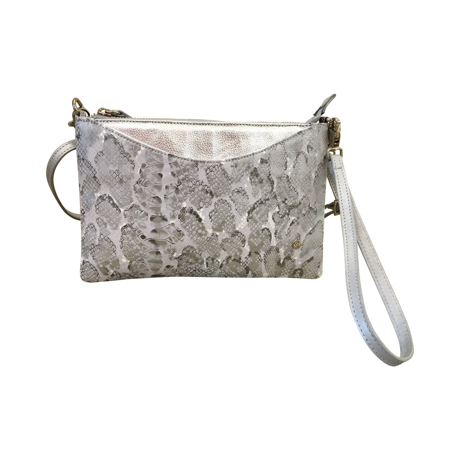 Gaspy Liz Women's Convertible Crossbody and Wristlet Clutch - Handmade from 100 Percent Colombian Cow Leather (Silver)