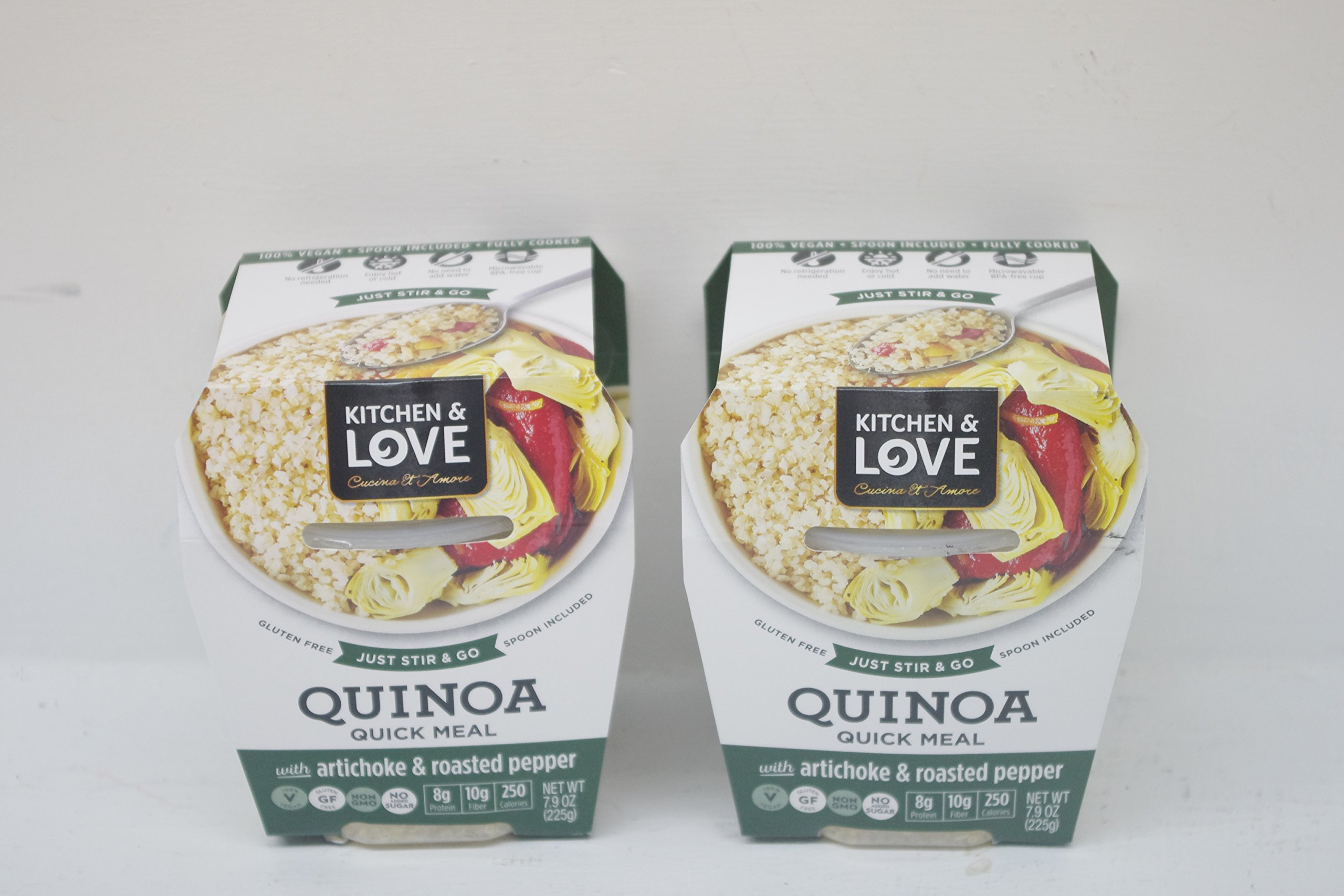 Healthy Quinoa Meal With Artichoke & Roasted Peppers - Ready To Eat, Spoon Included - 2 (7.9 Oz.) Units by Cucina & Armore Inc.