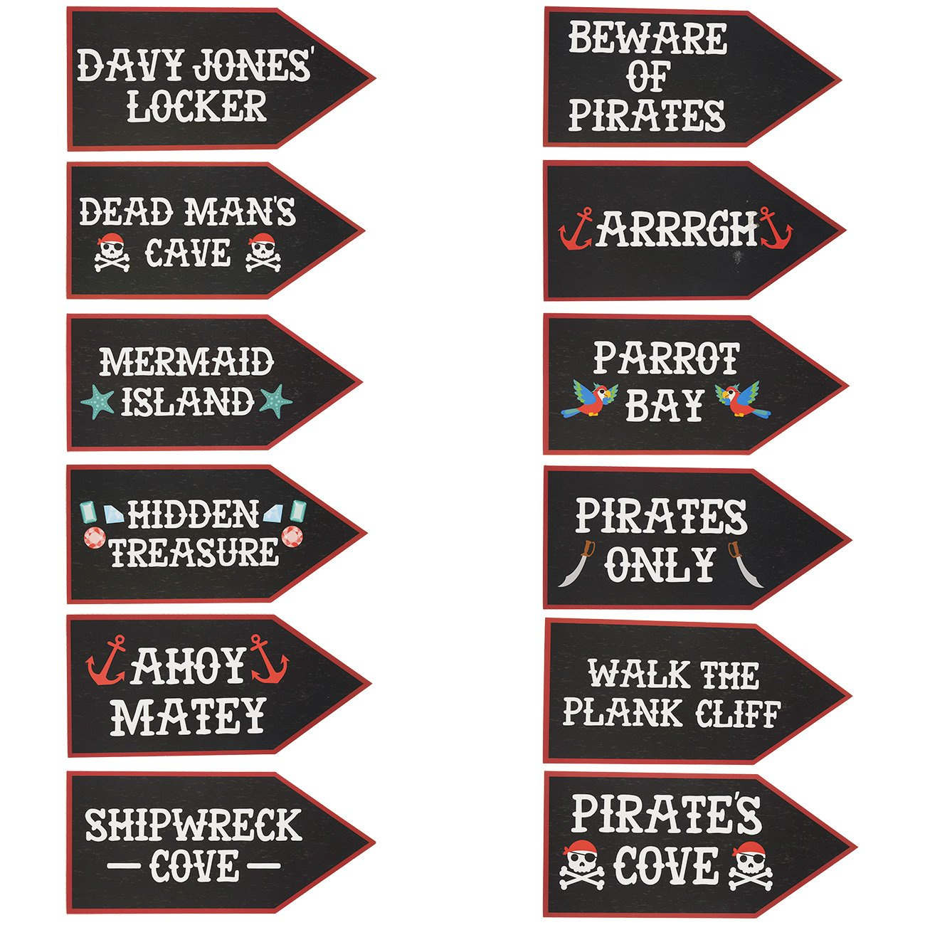 Amazon.com: Pirate Party Supplies - 12-Pack Word Cutouts Signs for ...