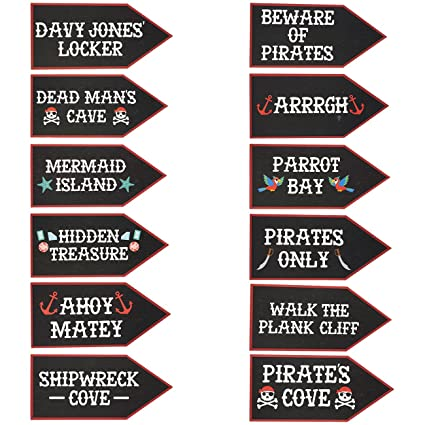 Amazon Com Pirate Party Supplies 12 Pack Word Cutouts Signs For
