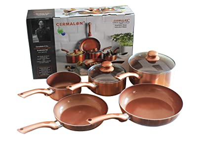 Kit de sartenes de cobre con revestimiento de cerámica antiadherente ...