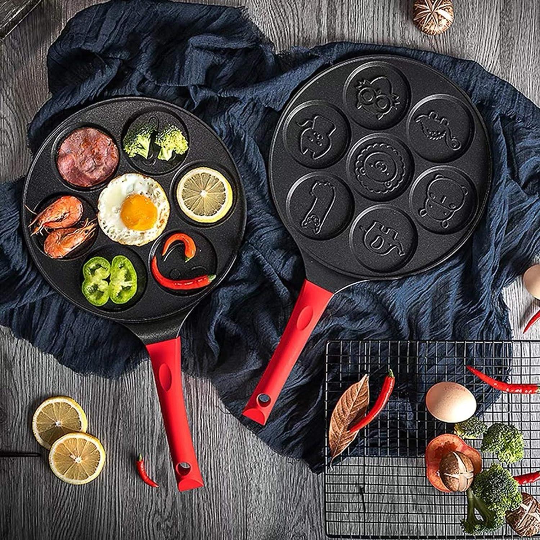 Decdeal Pancake Maker Animal Characters Pancake Pan Pan Griddle Pancake Pan Molds for Kids Nonstick Pancake Griddle Pan with 7 Animal Shapes Non-Stick Pancake Pan with Silicone Handle for kids fun