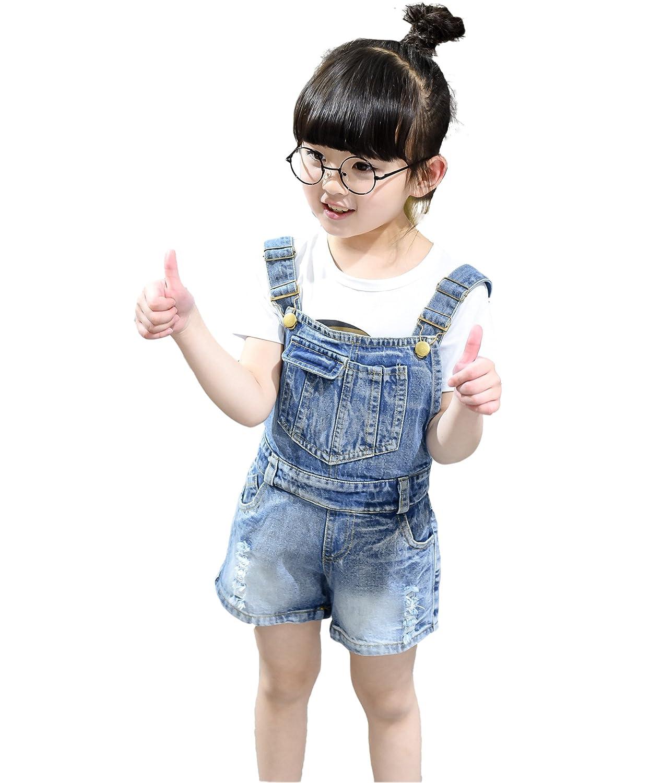 Kidscool Girls Big Bibs Ripped Summer Jeans Shortalls