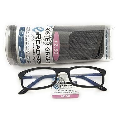 c420f0624e99 Amazon.com  Foster Grant Unisex Anti-Glare Reduce Blue Light Readers Black  Rectangle Frames New In Box (Black
