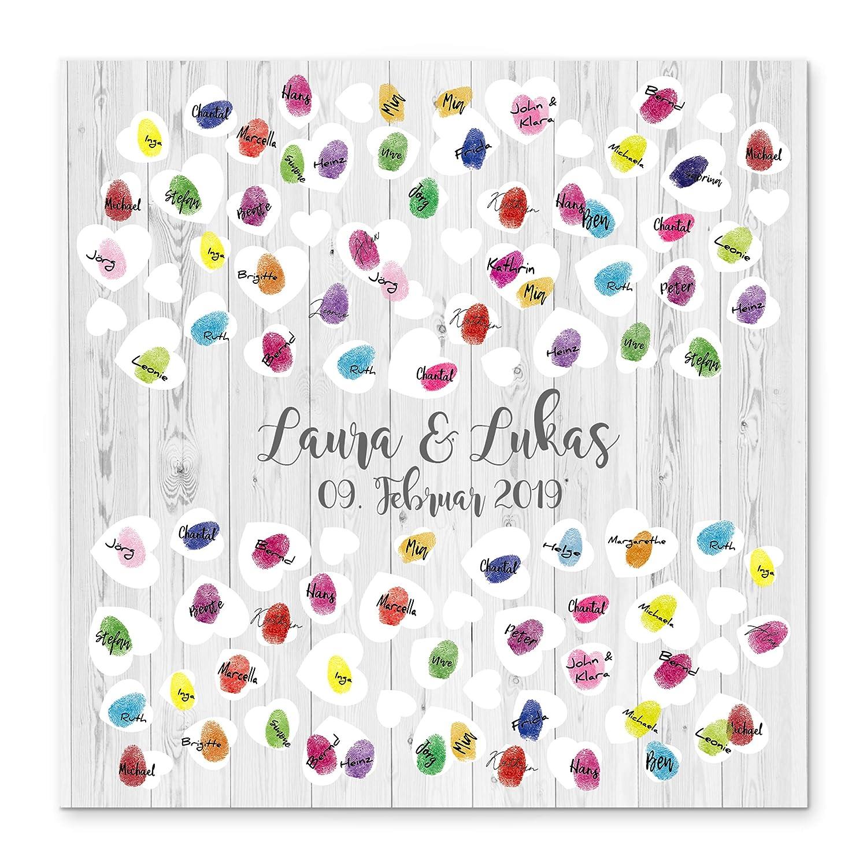 Madyes Tela impronta digitale guestbook matrimonio coppia regalo personalizzato sposa, decorazione di nozze, nomi con data. 50x50 cm di grandi dimensioni in legno barella regalo di nozze