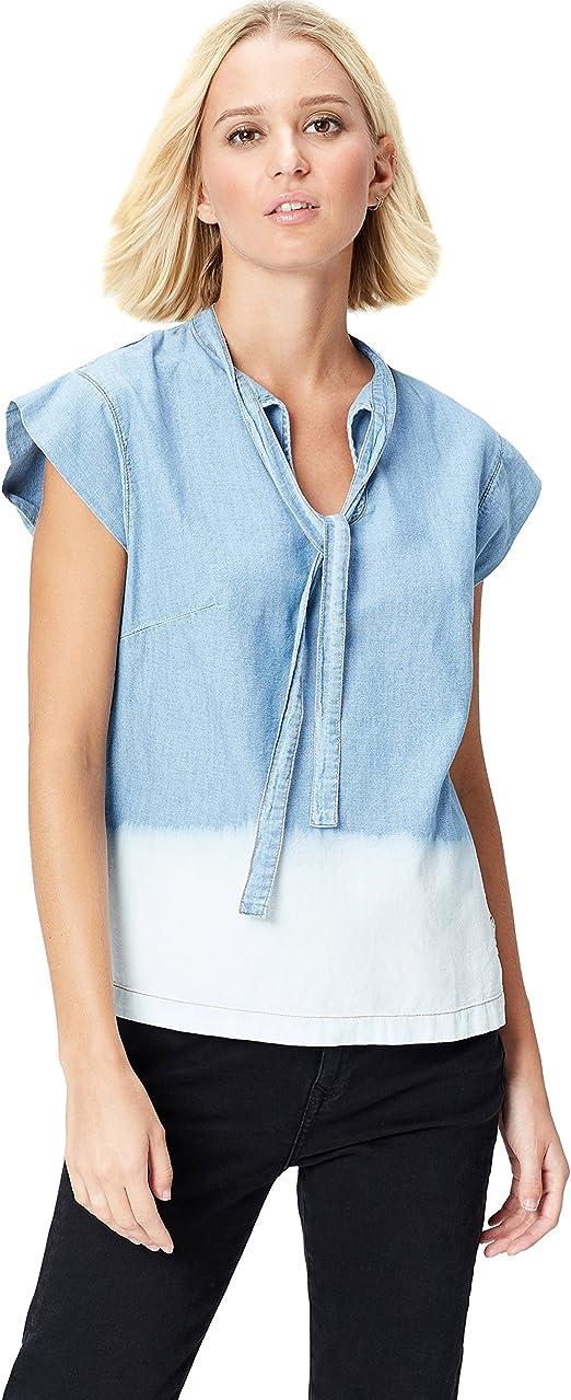 Marca Amazon - find. Dip Dye, Neck Blusa Tejana para Mujer
