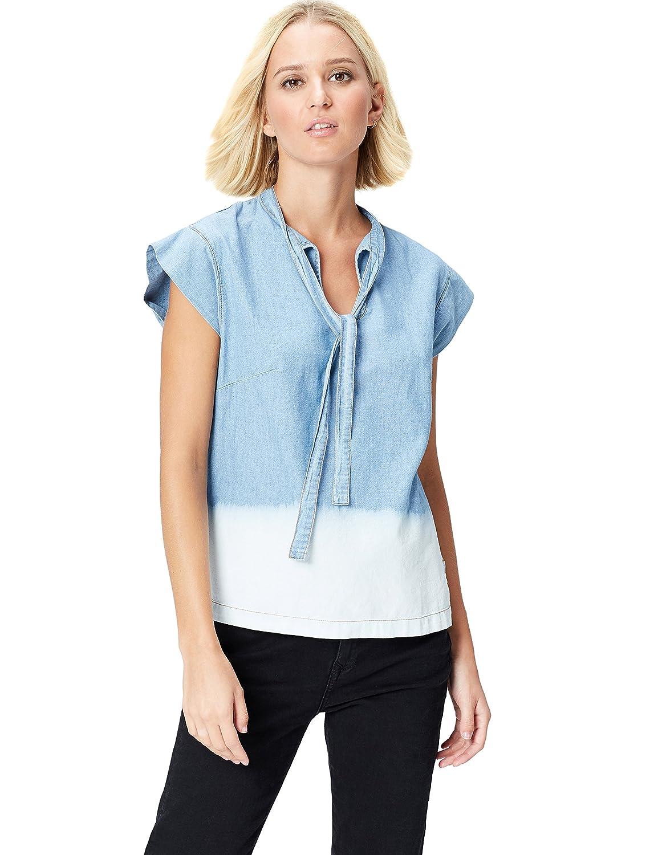 TALLA 36 (Talla del fabricante: X-Small). Marca Amazon - find. Dip Dye, Neck Blusa Tejana para Mujer