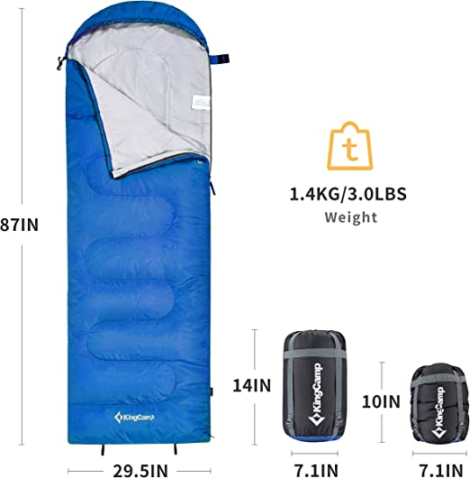Hiking Backpacking KingCamp Ultralight Mummy Sleeping Bag with Compression Sack Traveling 8.6F//-13C Compact Warm for 3-4 Season Camping