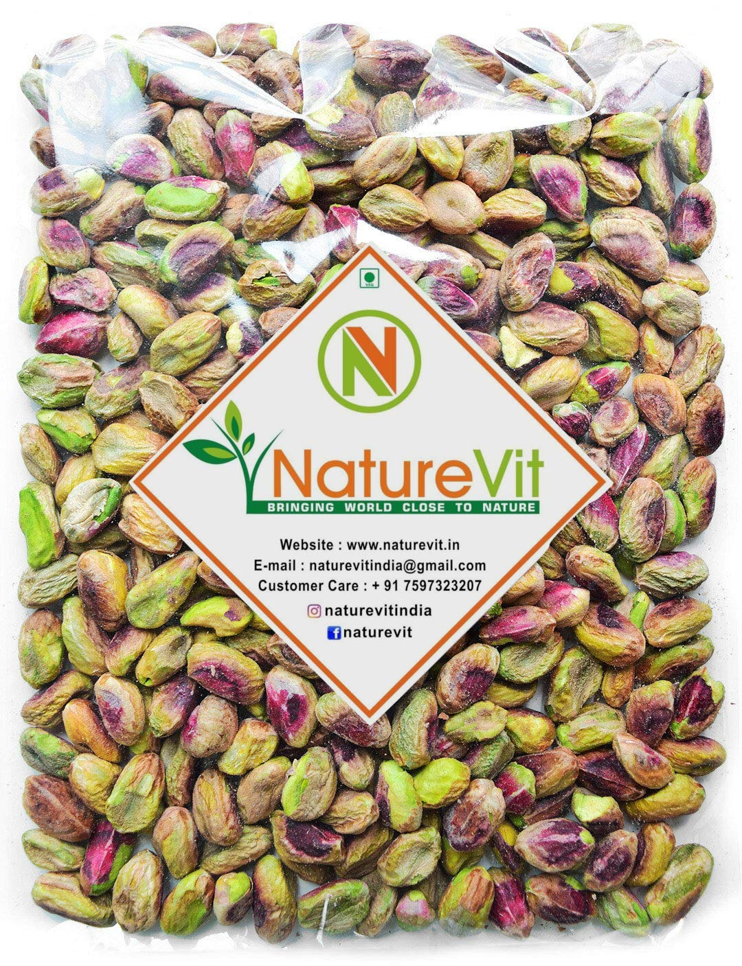 Nature Vit Pistachios Without Shell, 900 gm (Unsalted and Jumbo Sized)
