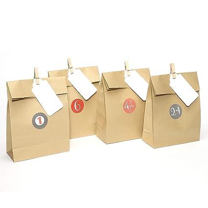 Plantvibes® 24 Bolsas de adviento de papel kraft de alta ...