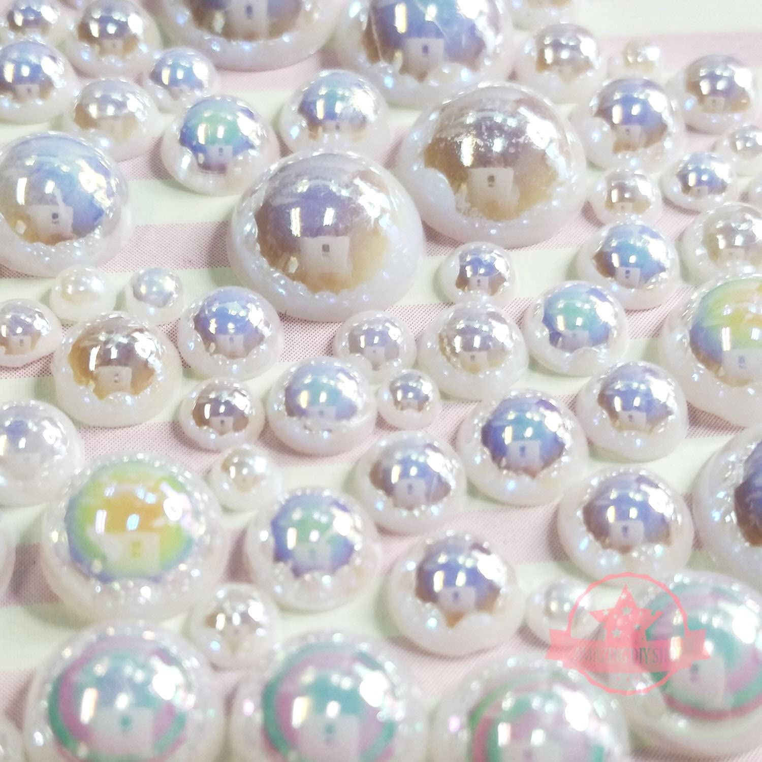 400 pcs 2mm 10mm White resin faux round Shiny Pearls Flatback Mix Size Cabochonship with FREE GIFT from GreatDeal68