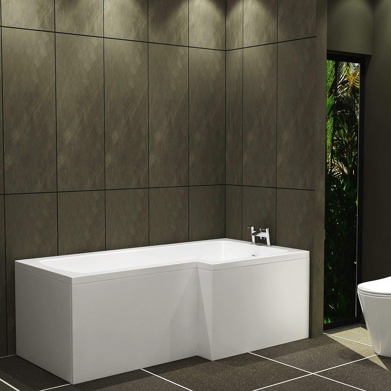 Qubix 1500 x 850mm Right Hand L-Shaped Shower Bath Acrylic Bathtub with Glass Shower Pivot Screen