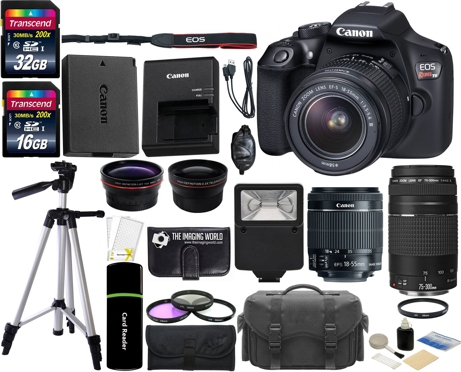 Canon EOS Rebel T6 18MP Wi-Fi DSLR Camera with 18-55mm IS II Lens + EF 75-300mm III Lens + 32GB & 16GB Card + Wide Angle Lens + Telephoto Lens + Flash + Grip + Tripod - 48GB Deluxe Accessories Bundle by The Imaging World