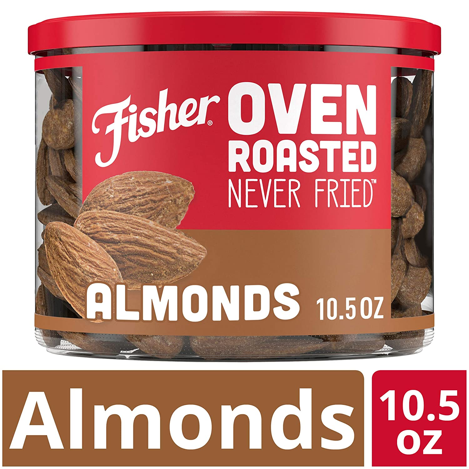 FISHER Snack Oven Roasted Never Fried Almonds, 10.5 oz, Made with Sea Salt