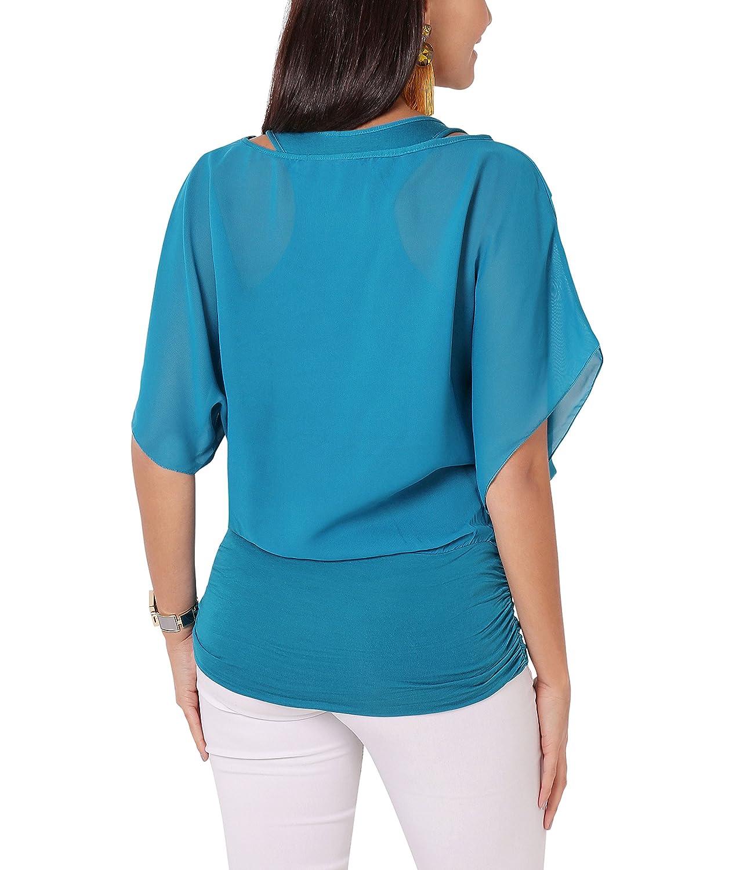 KRISP chifón de para bicicleta reloj de mujer con esfera de la parte superior patrones de Batwing blusa de camiseta de chaleco de: Amazon.es: Ropa y ...