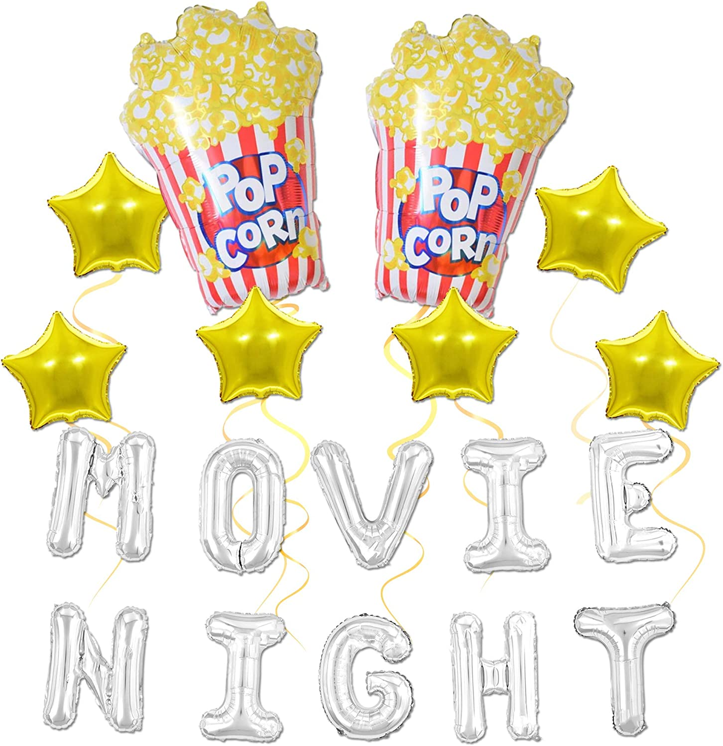 Movie Night Themed Party Decoration Balloons | Birthday Party Supplies for Hollywood or Movie Time Theme Event | Balloon Decor for IndoorOutdoor Backyard Movie Theater Party