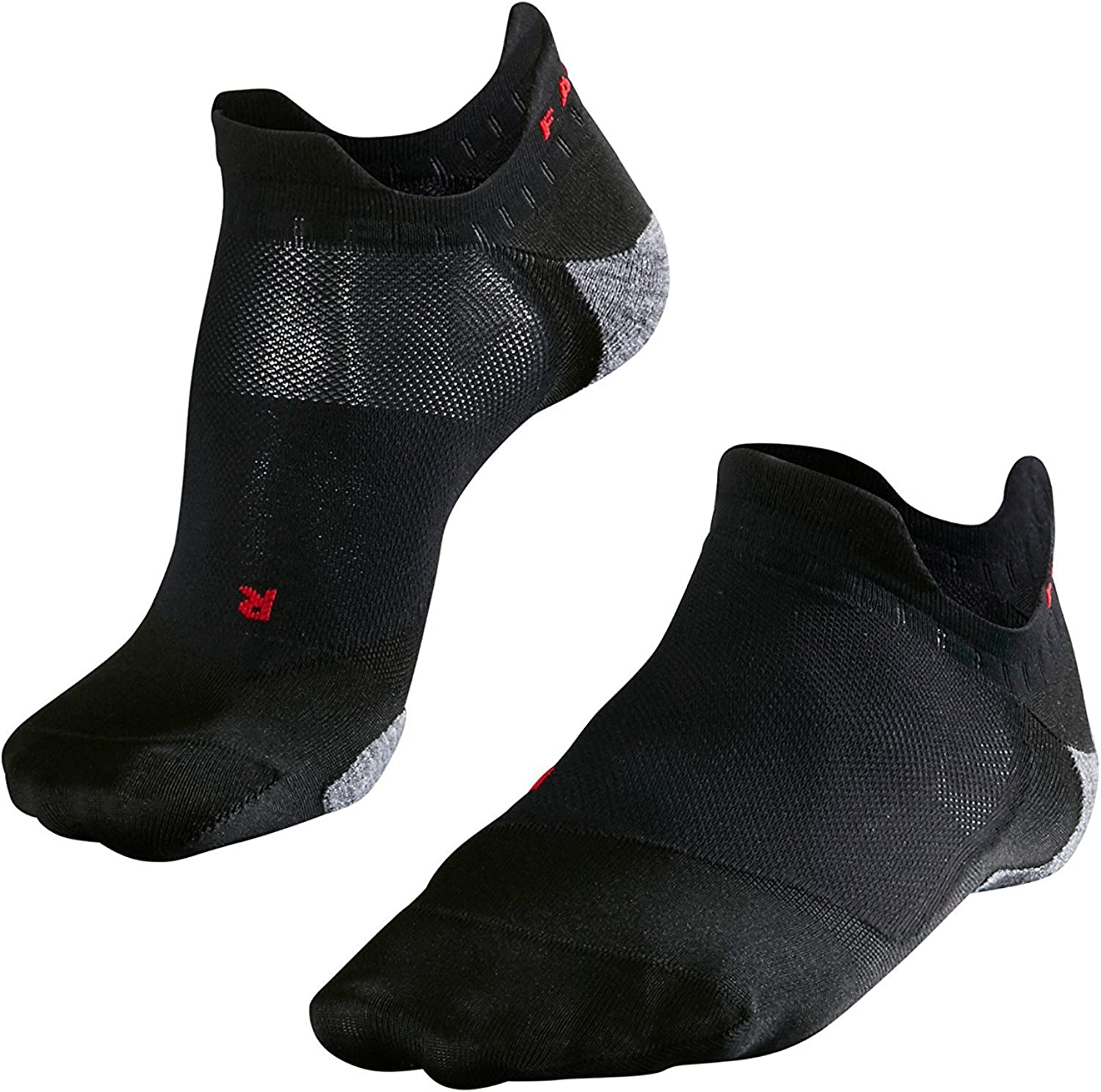 FALKE Mens RU5 Invisible Running Socks - No Show, Anti Blister, Cushioned, In Black or White, US sizes 6.5 to 13.5, 1 Pair