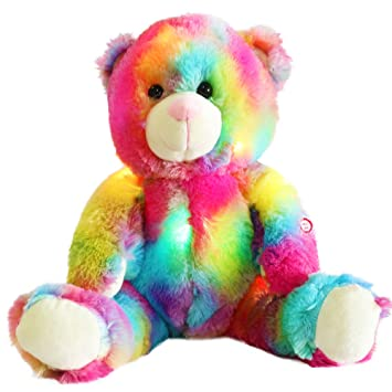 Wewill brand colorful rainbow soft toy teddy bear with led night wewill brand colorful rainbow soft toy teddy bear with led night light 12 inch negle Choice Image