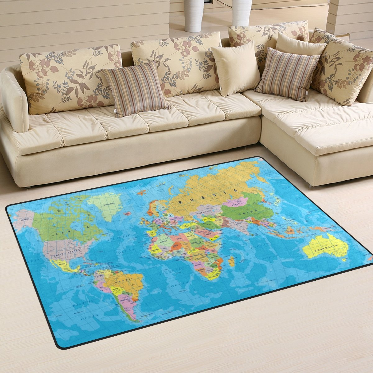 Naanle Watercolor World Map Non Slip Area Rug for Living Dinning Room Bedroom Kitchen, 50 x 80 cm(1.7' x 2.6' ft), Education Educational Nursery Rug Floor Carpet Yoga Mat