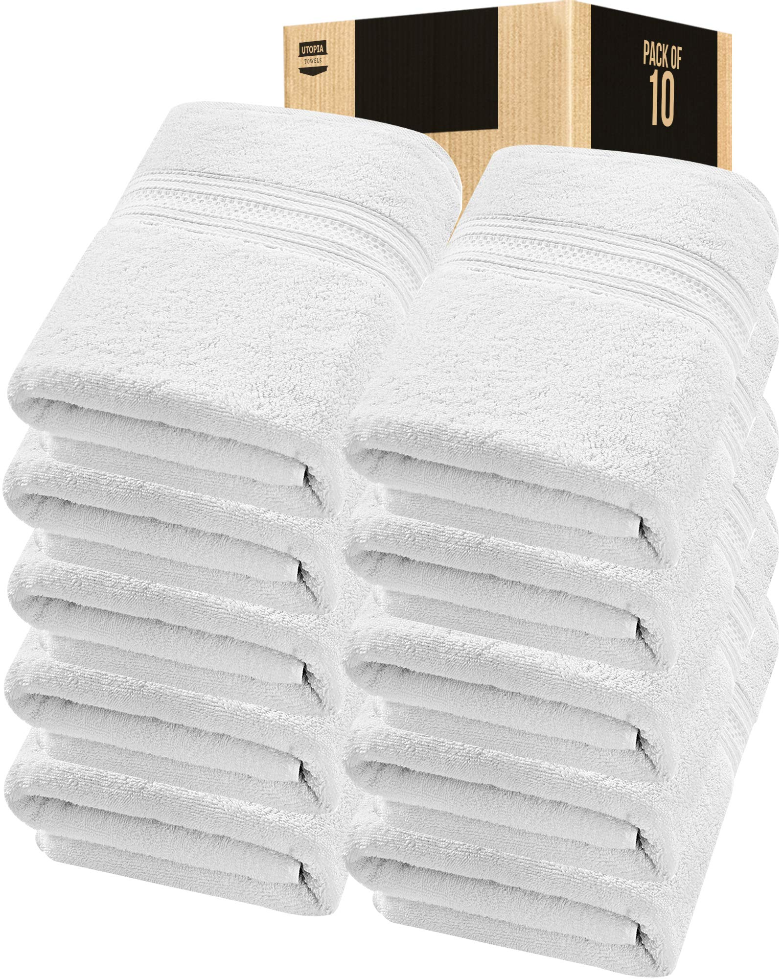 Utopia Towels 10 Pack 700 GSM Extra Large Bath Towels Bulk (35 x 70 Inches) Soft Luxury Bath Sheet, White