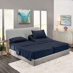 Nestl Bedding Soft Sheets Set – 5 Piece Bed Sheet Set, 3-Line Design Pillowcases – Wrinkle Free – 2 Fit Deep Pocket Fitted Sheets – Free Warranty ...