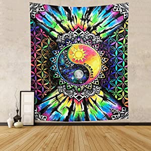 Reyife Mandala Tapestry Wall Hanging, Sun Galaxy Tapestries, Hippie Wall Art Home Decor for Living Room, Bedroom, Dorm Room (W59×H51 inches) (Colorful)