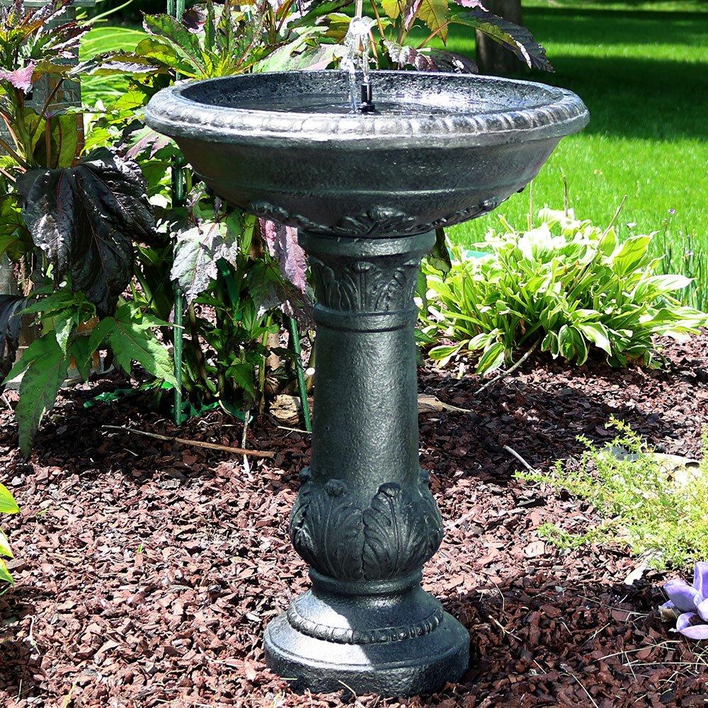 Sunnydaze Oasis Bird Bath Solar Power Outdoor Water Fountain, 26 Inch Tall