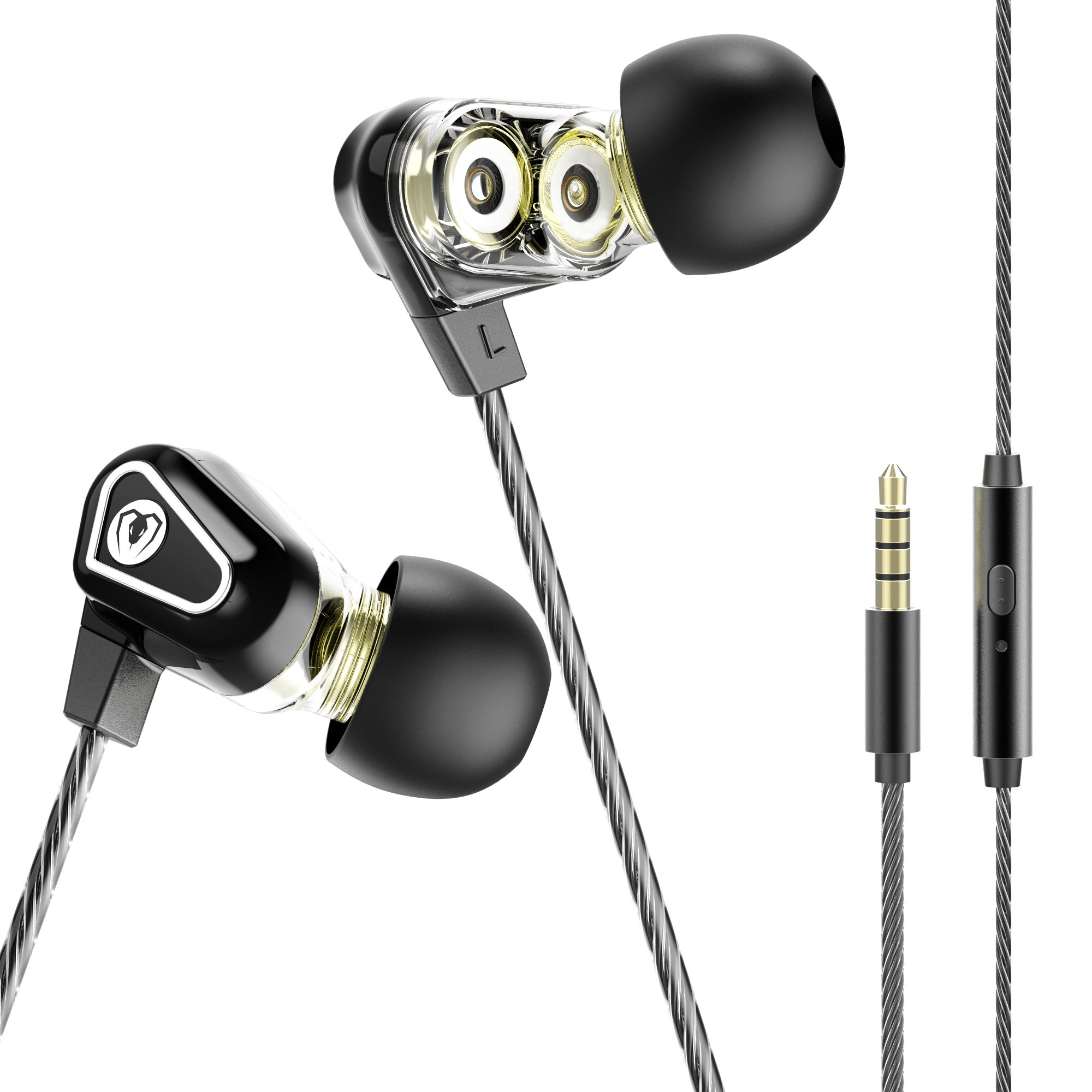 BlueFire Dual Driver Earphones 3.5mm Noise Isolation Wired Earbuds High Resolution Heavy Bass In-ear Headphones Earbuds with MIC and Volume Control for iPhone Android Smartphone Tablet