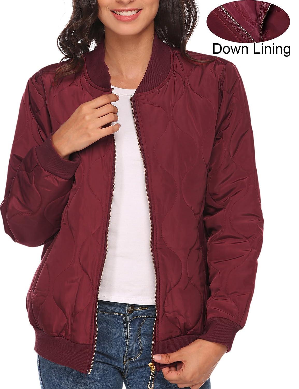 Beyove Women's Casual Padded Zipper Short Bomber Coat Outwear Biker Quilted Jacket BVH019384