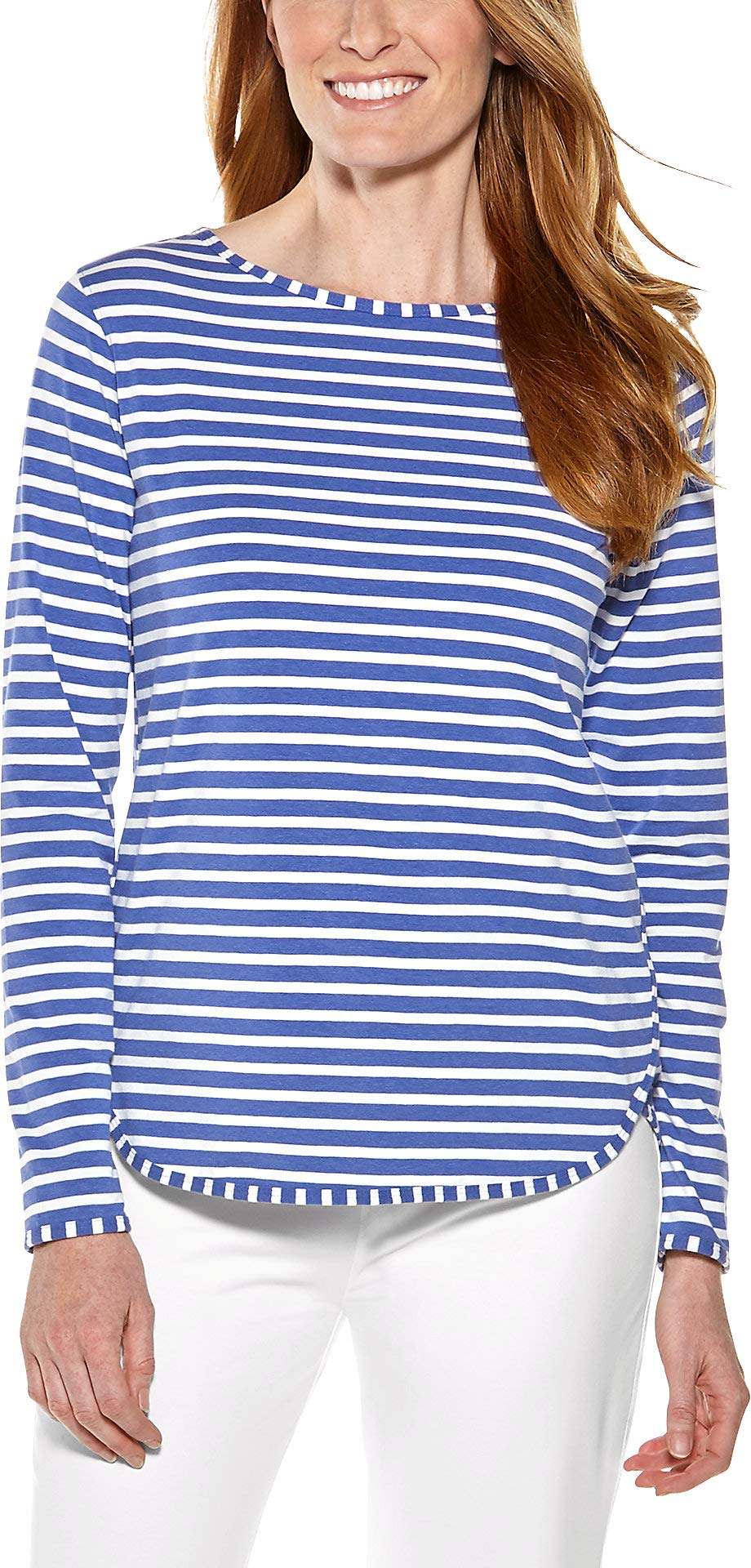 Coolibar UPF 50+ Women's Heyday Side Split Shirt - Sun Protective (3X- Empire Blue/White Stripe)
