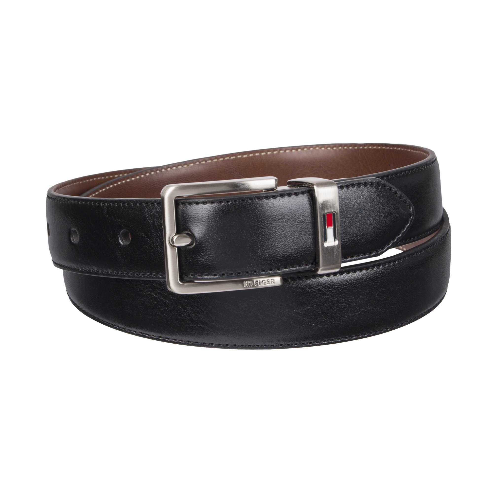 Tommy Hilfiger Boys' Big Reversible Dress Belt, Black/Cognac, Medium
