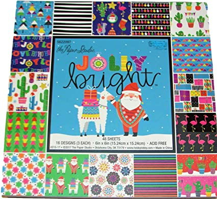 Amazon Com Jolly Bright 6x6 Inch Paper Pad Christmas