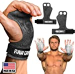 JerkFit RAW Grips 2 Finger Leather Hand Grips for Weightlifting, Calisthenics,