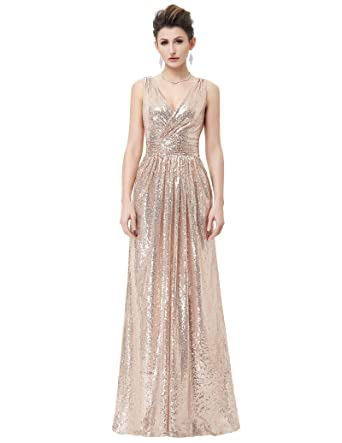 Ladies Sleeveless V-Neck Maxi Long Party Dress Evening Dress Rose Gold USA2 KK199-