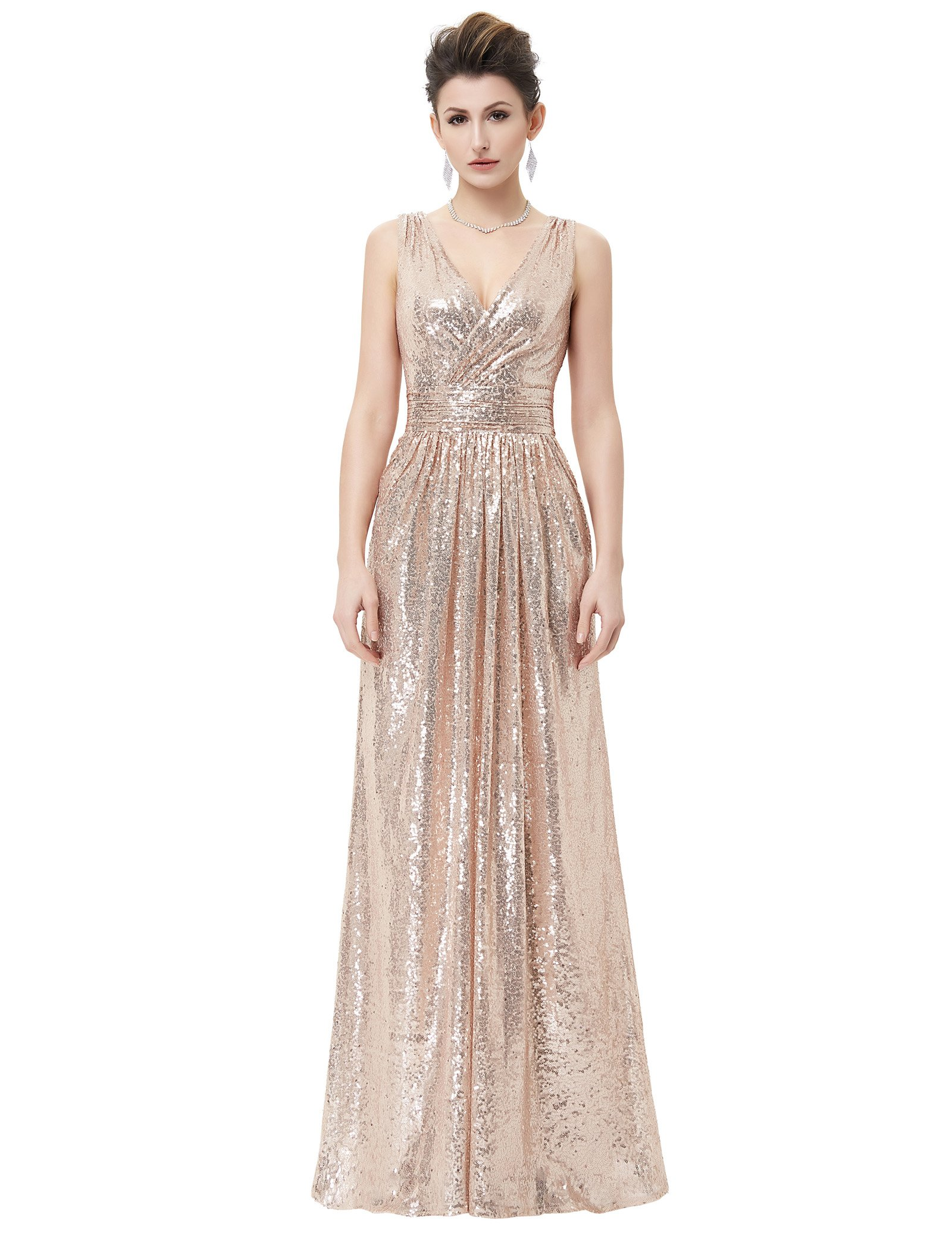 Kate Kasin Rose Gold Sequined Bridesmaid Dress Empired Waist for Evening Plus Size USA18 KK199-2
