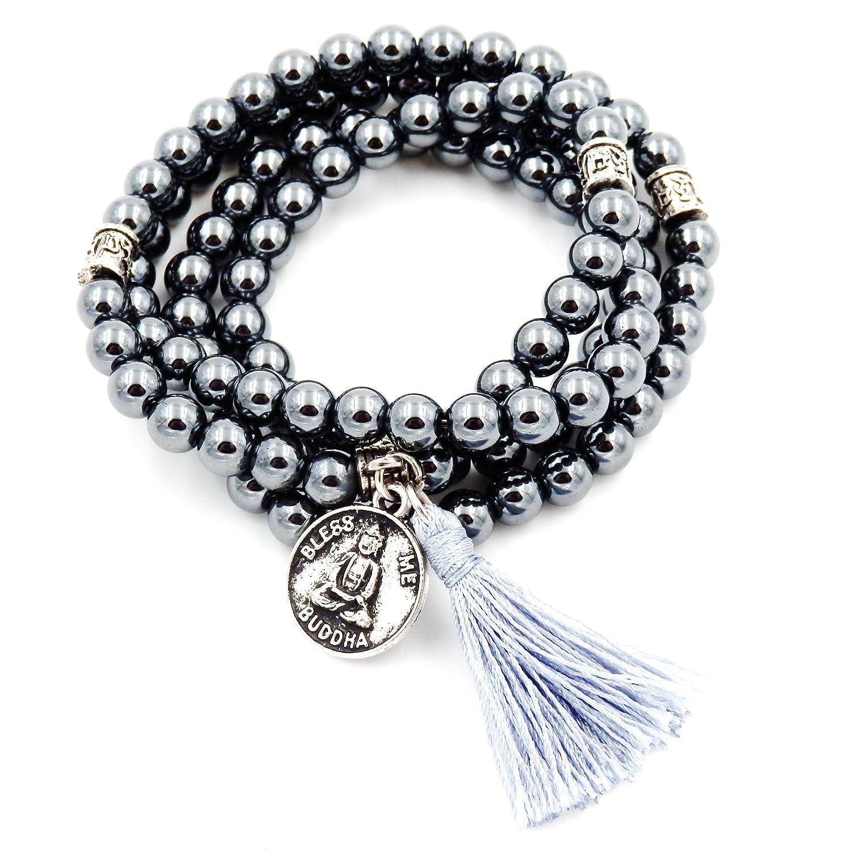 Mala Beads Bracelet, Buddhist Mala Prayer Beads, Buddha Bless Me Statement Necklace Malahill M002