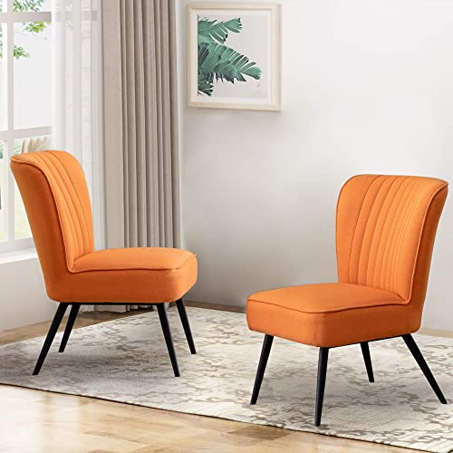 Alunaune Modern Armless Accent Chair Set of 2 Upholstered Living Room Slipper Chairs Club Guest Couch Comfy Wingback Single Sofa