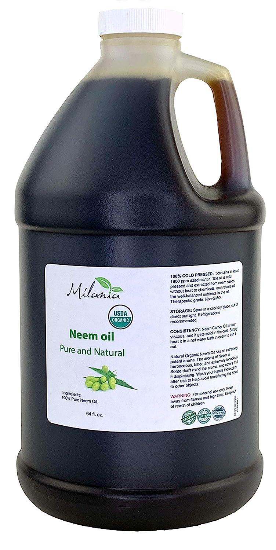 Premium Organic Neem Oil Virgin, Cold Pressed (64 Fl. Oz.) Unrefined 100% Pure Natural Grade A. Excellent Quality.