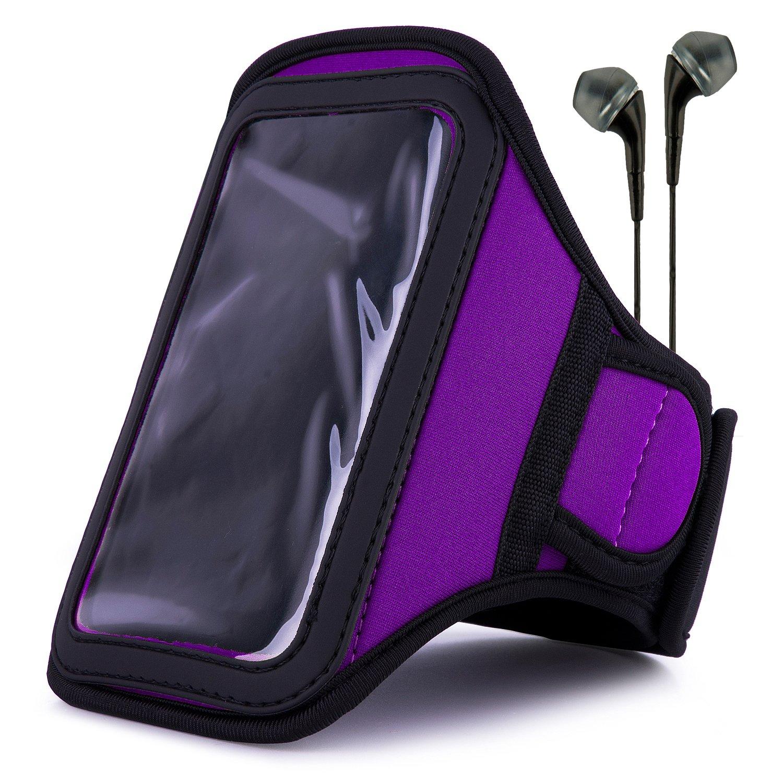 VanGoddy Armband – PURPLE PLUM Neoprene Sweat-proof w/ Key & ID Card Pouch for LG Volt LTE Android Phone + Black Handsfree Microphone Headphones